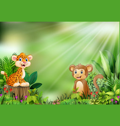 cartoon of the nature scene with a baby leopard si vector image