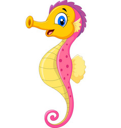 cartoon watercolor seahorse isolated on white back vector image
