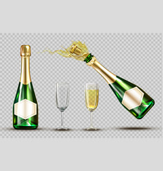 champagne explosion bottle and wineglasses set vector image