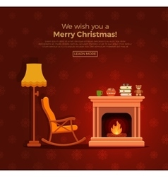 Christmas fireplace room interior vector