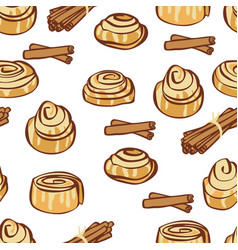 Cinnamon buns and sticks seamless pattern vector