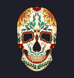 Color of a sugar skull the feast o vector