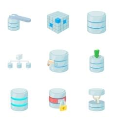 Computer data icons set cartoon style vector image