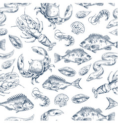 crawfish and fishes sketch vector image
