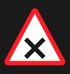 Crossroads sign flat icon traffic and road sign vector