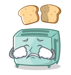 crying toaster character cartoon style vector image