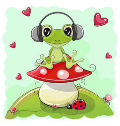Cute cartoon frog with headphones vector