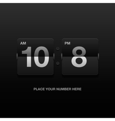 Digital clock analog black scoreboard vector image