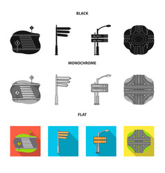 Direction signs and other web icon in black flat vector
