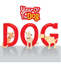 Dogs on texts year of the dog vector