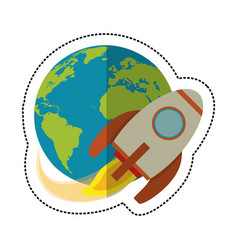 earth world with rocket flying shadow vector image vector image