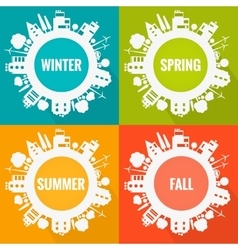 Eco town seasons vector