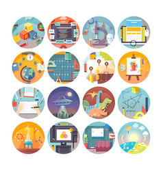 Education and science flat circle icons set vector