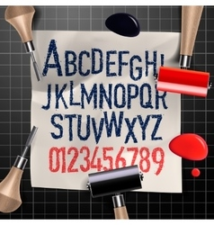 Engraving letters and numbers vector