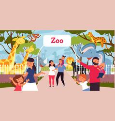 Family in zoo smiling cartoon kids walking vector