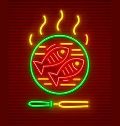 Fish roast at hot pan bbq vector