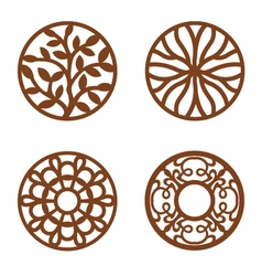 Flower Design Laser Cut Wood Coaster vector