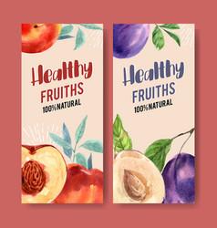 Flyer watercolor design with plum and prunes vector