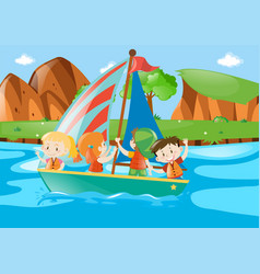 Four kids sailing boat in river vector
