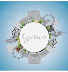 Geneva skyline with grey landmarks vector