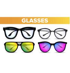 glasses set modern and vintage eyewear vector image