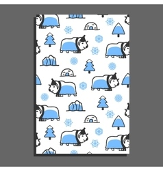 Greeting card template with cute cartoon musk-ox vector