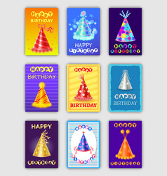 Happy birthday posters hats party celebration set vector