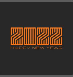 happy new year 2022 orange creative monogram vector image