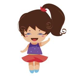 Kawaii blue yes princess vector