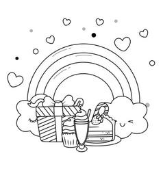 kawaii rainbow and happy birthday design vector image