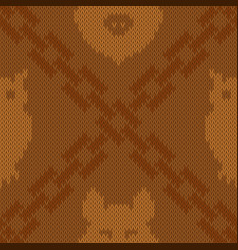 Knitted pattern with intersection of chains vector