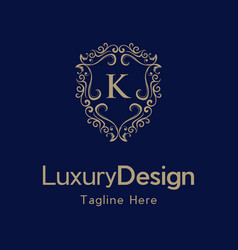 Letter k luxury shield frame creative business log vector