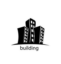 modern building black logo design vector image