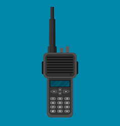 Modern portable handheld radio device in flat vector