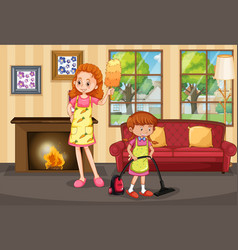 Mother and daughter cleaning house vector