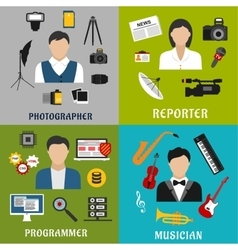 Musician photographer reporter and programmer vector