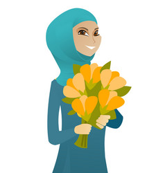 muslim business woman holding bouquet of flowers vector image