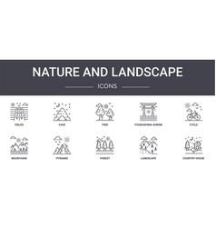 Nature and landscape concept line icons set vector