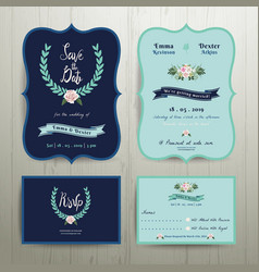 Navy Blue Wedding Invitation Card vector image
