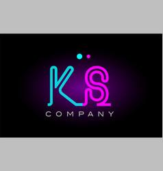 neon lights alphabet ks k s letter logo icon vector image