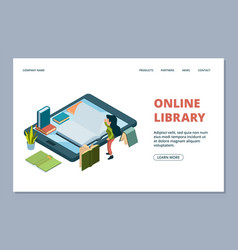 online library landing page isometric books and vector image
