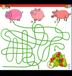paths maze game with pigs and apples vector image