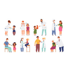 people vaccination flat sick child vaccinations vector image