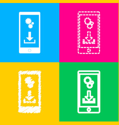 phone settings download and install apps four vector image
