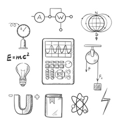 Physics and mechanics sketch icons vector