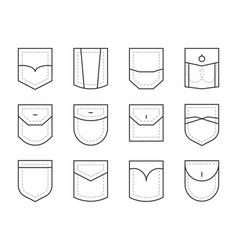 pocket clothes or bag packs fashion elements vector image