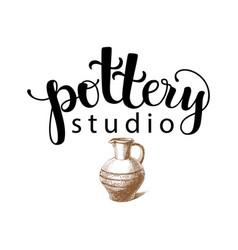 pottery studio logo vector image