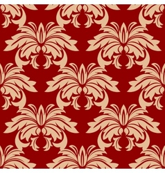 Red damask floral seamless pattern vector