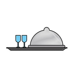 Restaurant dish dome vector
