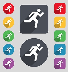 Running man icon sign A set of 12 colored buttons vector